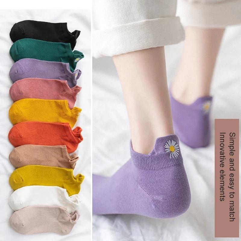 5 шт./упак. вышивка Многоцветный Дейзи Для женщин носки 100% из хлопка и принтом в виде хризантем носки до лодыжки для женщин; Сезон весна-лето
