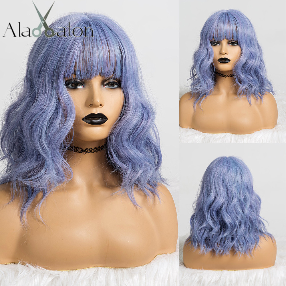 ALAN EATON Cute Synthetic Short Wigs With Bangs For Women Wave Hair Wig Natural Cosplay Mixed Blue Purple BObo Lolita Wigs