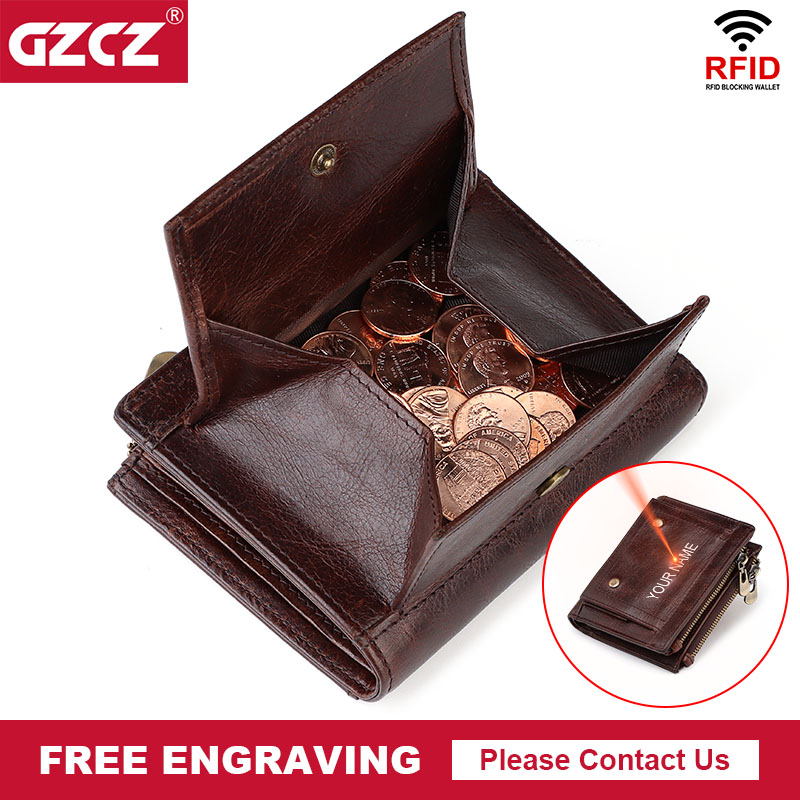 Genuine cow leather designer coin purse luxury wallet for men short rfid card holder pocket top quality clutch wallets portfel