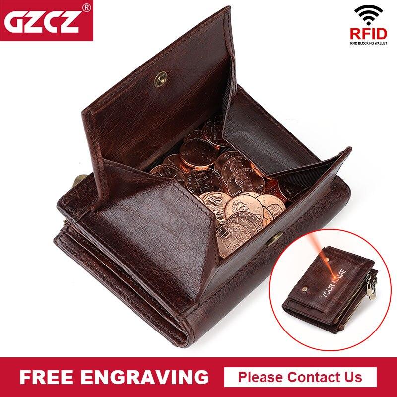 Genuine cow leather designer coin purse luxury wallet for men short rfid card holder pocket top quality clutch wallets portfel