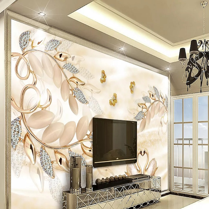 Custom Large Mural 3D Wallpaper Fashion Modern Luxury Chinese Pearl Ornament Flower Abstract Bedroom TV Wall Decor 5D Embossed