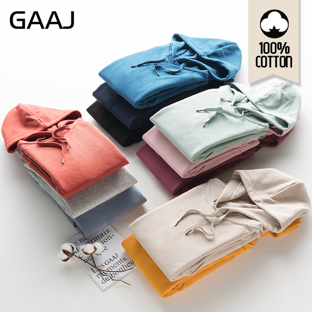 GAAJ 100 Cotton Men Hoodies Women High Quality Outerwear Man Autumn Spring Harajuku Hip Hop Casual Streetwear Brand Purple Pink