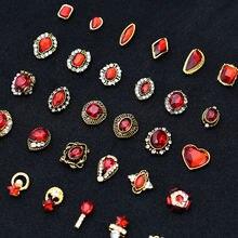10 шт Золотые 3d красные драгоценные камни Хрустальные Яркие