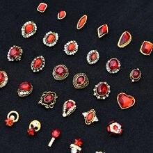 10 pçs ouro 3d gemas vermelhas cristal brilhante prego strass liga decoração da arte do prego glitter diy unhas acessórios suprimentos topo