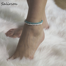 Salircon Delicate Natural Shell Green Irregular Stone Anklet White Rice Beads Handmade Jewelry for Women  Party Gif