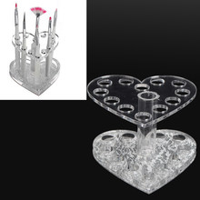 Nail Pen Display Stand Makeup Cosmetic Holder Showing Shelf Clear Nail Polish Varnish Display Heart Insert Pen Acrylic Nail Tool(China)