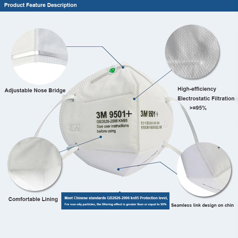 3M 9501+ Mask Particulate Protective Masks Safety Mask Disposable Face Mask Sanitary Working Respirator 3M KN95 Mascarilla 4