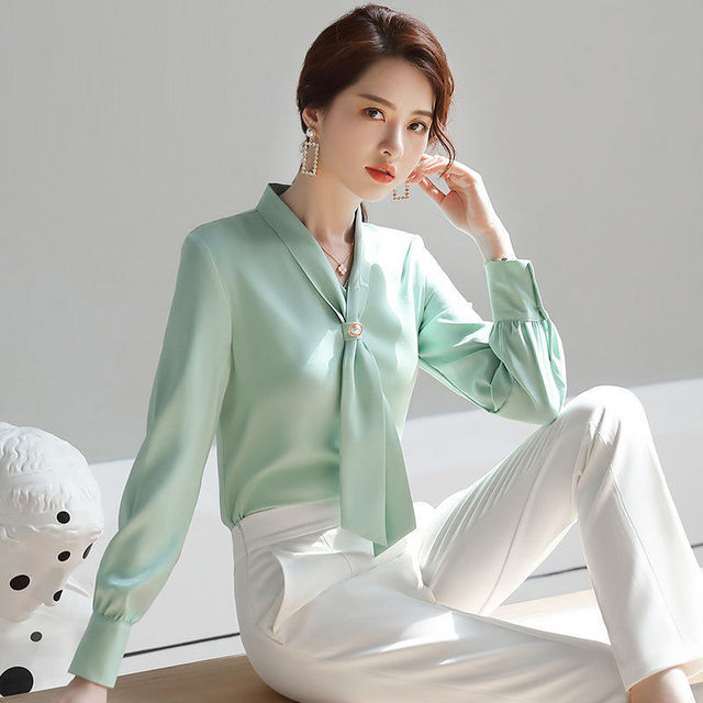 2021 Spring Autumn Women Fashion Chiffon V-neck Shirt Female Long Sleeve OL Tops & Blouses Feminina Blusas 1