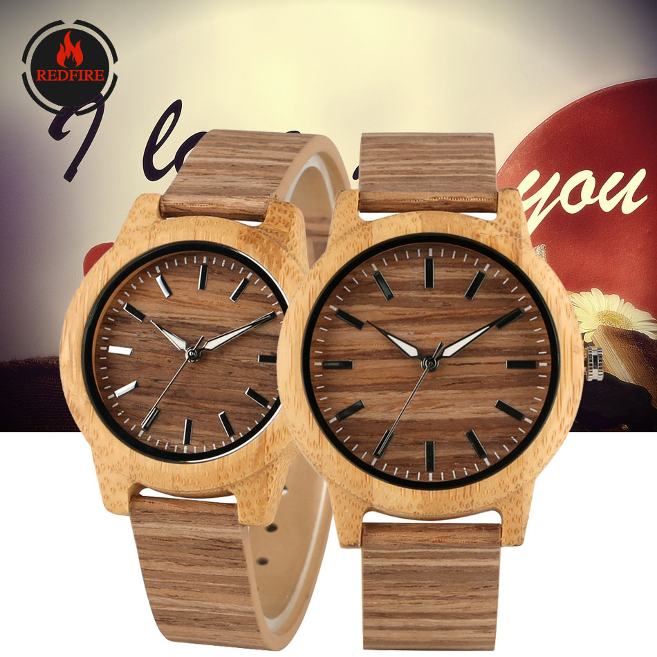 REDFIRE Couple Wood Watch  Quartz Corkwood Design Creative Anniversary Wedding Gifts for Men Women Support Custom Engraving
