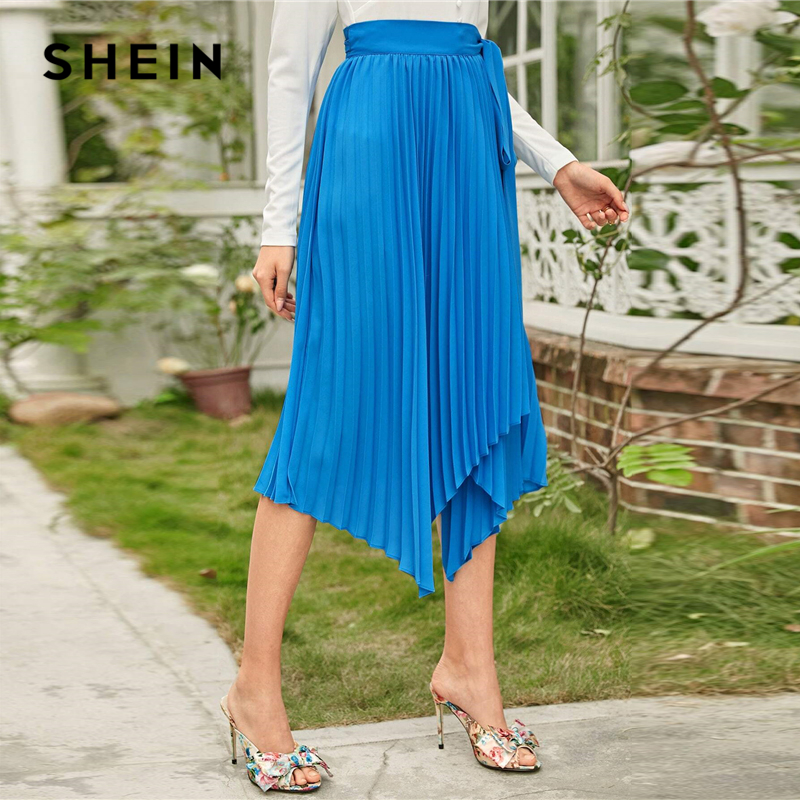 SHEIN Blue Self Belted Asymmetrical Hem Pleated Skirts Women Spring Belted Mid Waist Ladies Solid Elegant Long Skirt 2