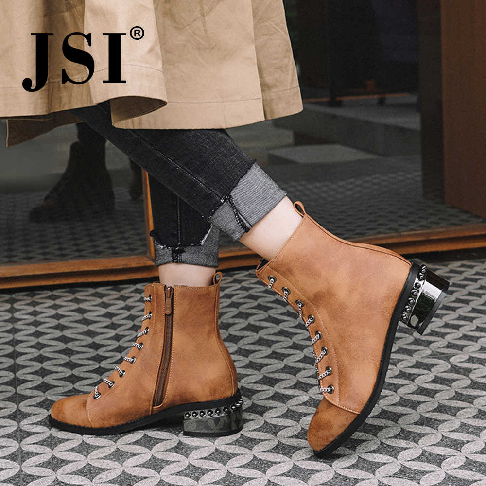 JSI Women Boots Mid-Calf Fashion Chain Lace-Up Microfiber Solid Med Heel Square Heel Round Toe Handmade Winter Women Boots JE21