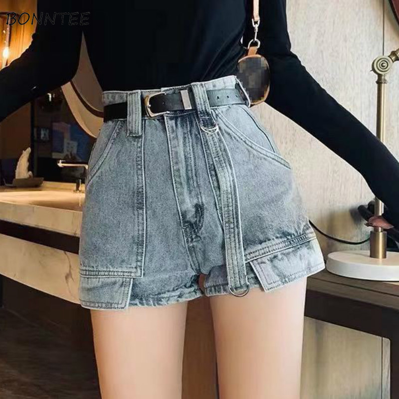 Shorts Women Denim High Waist Pockets Korean Harajuku Retro New Arrival Hot Short Casual Girl Trendy Streetwear Slim Womens Chic
