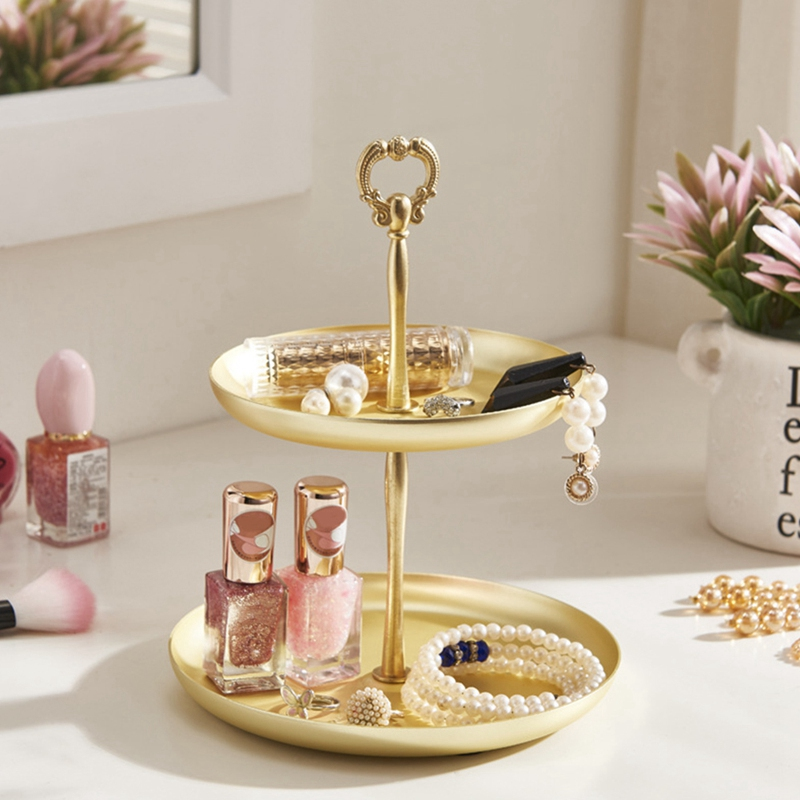 Two-Tier Golden String Disk - Entrance Key Mirror Tray For Jewelry Decoration Receipt Box Dresser Necklace Ring Earring Tray