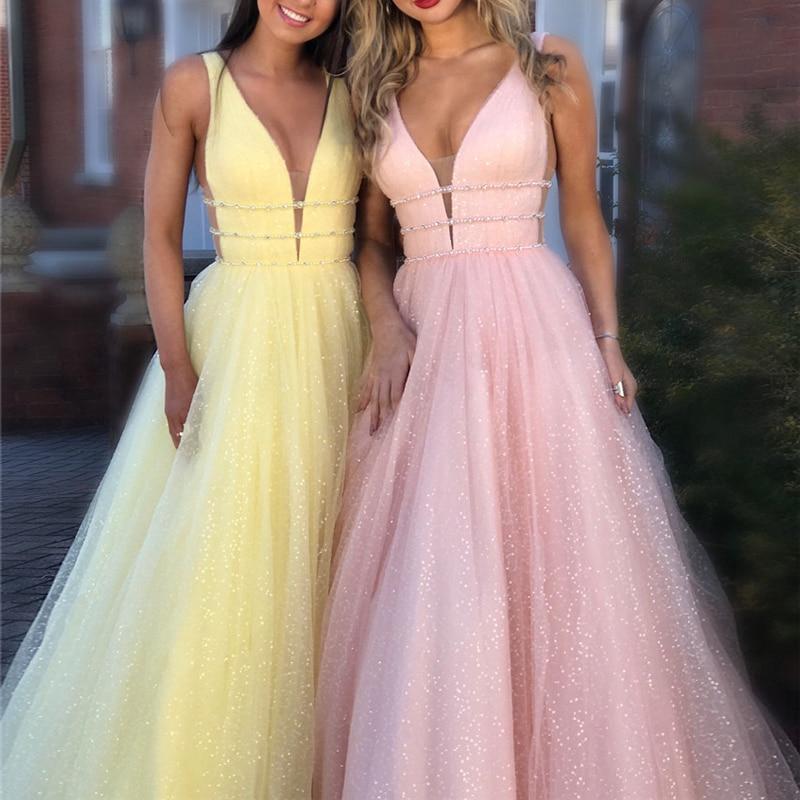 Shiny Prom Dress 2019 Pink A-line Deep V-neck Sleeveless Glitter Long Party Dress Formal Elegant Dresses Vestido Format