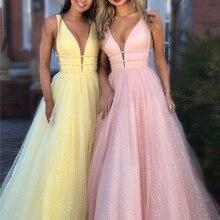 Shiny Prom Dress 2019 Pink A-line Deep V-neck Sleeveless Gli
