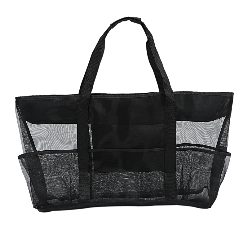 XXL Mesh Beach Bag Family Mesh Beach Bag Mesh Bag For Sand Toys, Extra Large Family Mesh Beach Bag Tote, Black