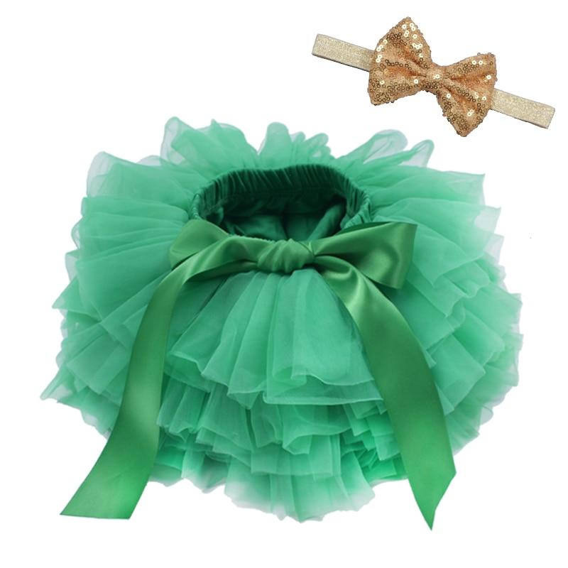 Юбка-пачка для маленьких девочек, комплект из 2 предметов, кружевные трусы из тюля, Одежда для новорожденных, Одежда для младенцев Mauv, повязка на голову с цветочным принтом, Детские сетчатые трусики - Цвет: green2