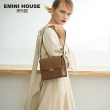 EMINI HOUSE Wide Strap Padlock Flap Simple Style Crossbody Bags For Women Shoulder Bag Split Leather Women Messenger Bags(China)