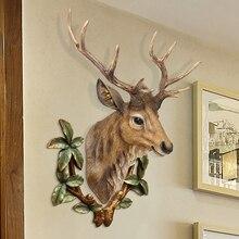 3D Deer Head Sculpture Resin Murals Home Wall Hanging Animal Statue Decoration Handmade Decor Ornament Artwork Craft