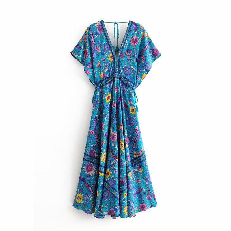C5717-8171 WOMEN'S Dress Retro Vacation Style Peacock Printed Positioning V-neck Lace-up Tassels Longuette