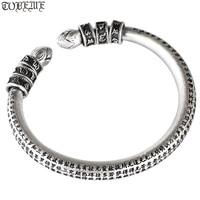 3D 999 Silver Tibetan Bangle Pure Silver the Buddhist Heart Sutra Cuff Bracelet Tibetan Six Words Bangle
