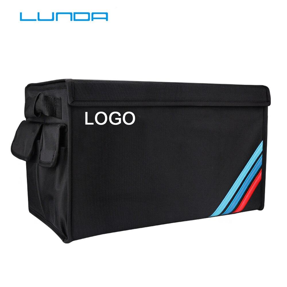 Car Storage Box Embroidery LOGO Car Trunk Storage Box Organizer Bags For Mercedes Volvo Cadillac JEEP Toyota For BMW Audi Lexus