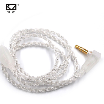 KZ Silver plated Upgrade Earphone Cable Detachable Audio Cord 3.5mm 3-pole Jack for ZS3/ZS5/ZS6/ZSA/ZS10/AS10/ES4 Headphones