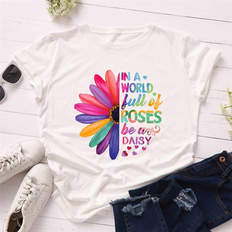 PlusขนาดS-5XLใหม่Daisiesพิมพ์ผู้หญิงเสื้อยืด 100% Cottonเสื้อผู้หญิงOคอสั้นแขนเสื้อTeesฤดูร้อนTเสื้อผู้หญิงTShirt