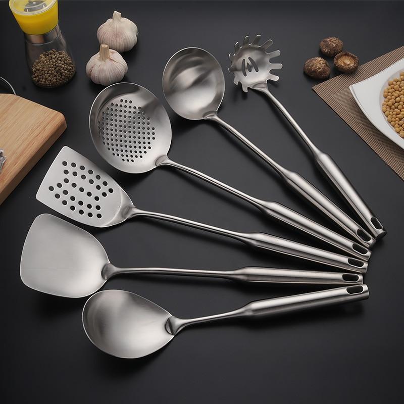 6pcs High Grade Stainless Steel Cookware set Kitchen Shovel Soup Spoon Leak Spatula Cooking Tools Kitchen Utensils Kitchenware - 3