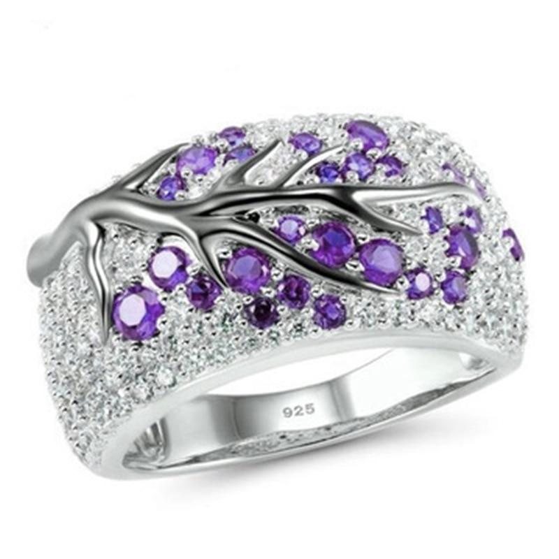 Новинка, кольца из розового золота для женщин, полностью Кристальное обручальное кольцо из Стразы для дам, Женские аксессуары, кольца на палец, ювелирное изделие, подарок - Цвет основного камня: purple