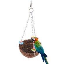 Standing-Toys Cage-Feeder Nest Bird-House Coconut-Shell-Bird Hanging Pet-Parrot-Bird