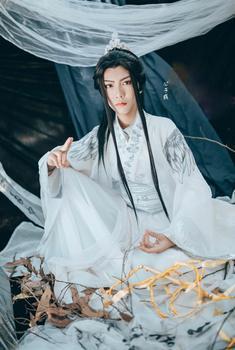 Chu Wanning, disfraz de Príncipe blanco bordado, Hanfu, gato blanco inmortal, maestro cos Bai ZiHua, Cosplay, Hanfu, hombre, disfraz de espadachín