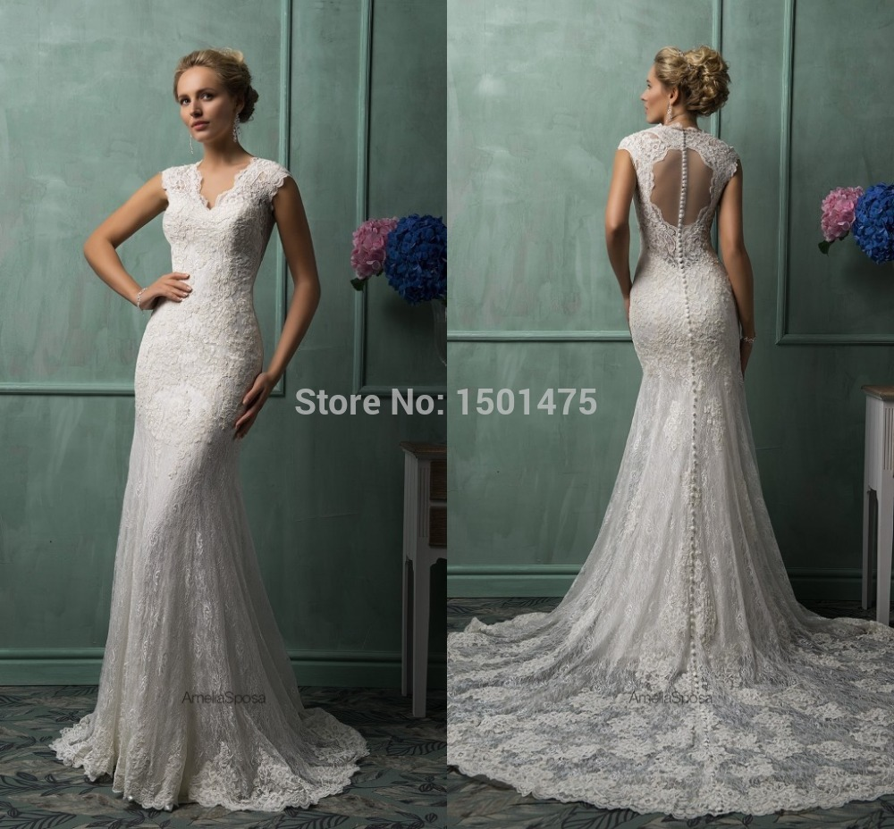Sexy V Neck See Through Back Vestido De Noiva Lace Wedding Dresses 2018 Illusion Chapel Train Wedding Gowns Bridal Gowns