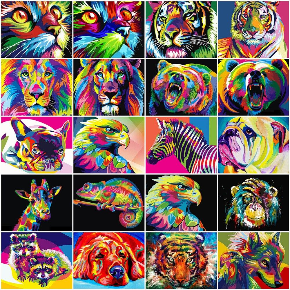 HUACAN numbrite järgi maalimine looma pildid, 21 erinevat varianti. 50x40cm ilma raamita