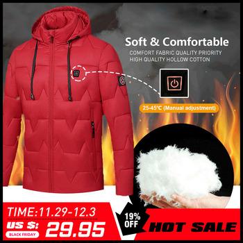 USB elektryczny podgrzewany płaszcz kurtka 8 godzin ogrzewanie z kapturem kurtka z długim rękawem ciepłe ubrania na zimę termostat z kapturem wodoodporny tanie i dobre opinie COTTON Termiczne Heated Hooded Jacket Pasuje prawda na wymiar weź swój normalny rozmiar WindStopper