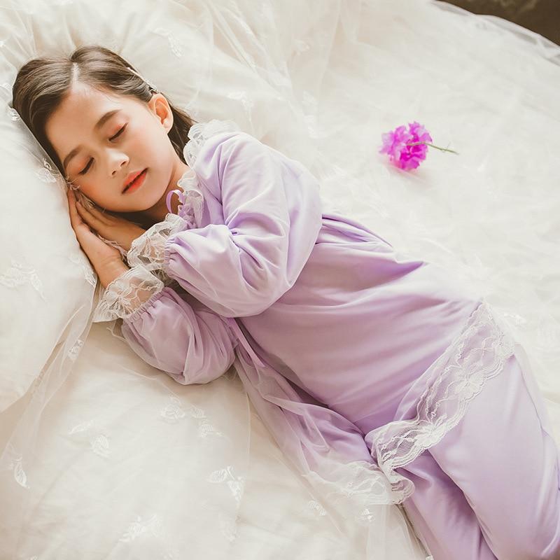 Pyjamas pour enfants filles printemps et automne à manches longues filles bébé princesse doux vêtements pour enfants service à domicile costume mince - 4