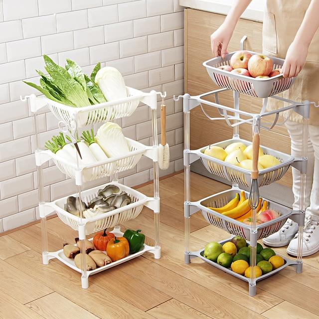 Keuken Organizer Pp Opslag Rack Plank Met Beweegbare Mand Badkamer Keuken Koelkast Side Planken 3/4 Lagen Fruitmand