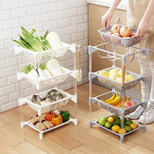 Kitchen Organizer PP Storage Rack Shelf With Movable Basket Bathroom Kitchen Refrigerator Side Shelves 3/4 Layers Fruit Basket