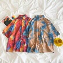 Deeptown «вареный» принт женские рубашки на пуговицах Рубашка