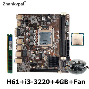 H61 Desktop Motherboard For Intel Cpu Set With Core Duo 3.3G Cpu i3-3220 + 4G 1600 Memory +FAN Computer Mainboard Assemble Set