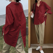 Women Tops Casual Solid Blouses 2020 Celmia Stylish Lapel Long Sleeve Buttons Asymmetric Work
