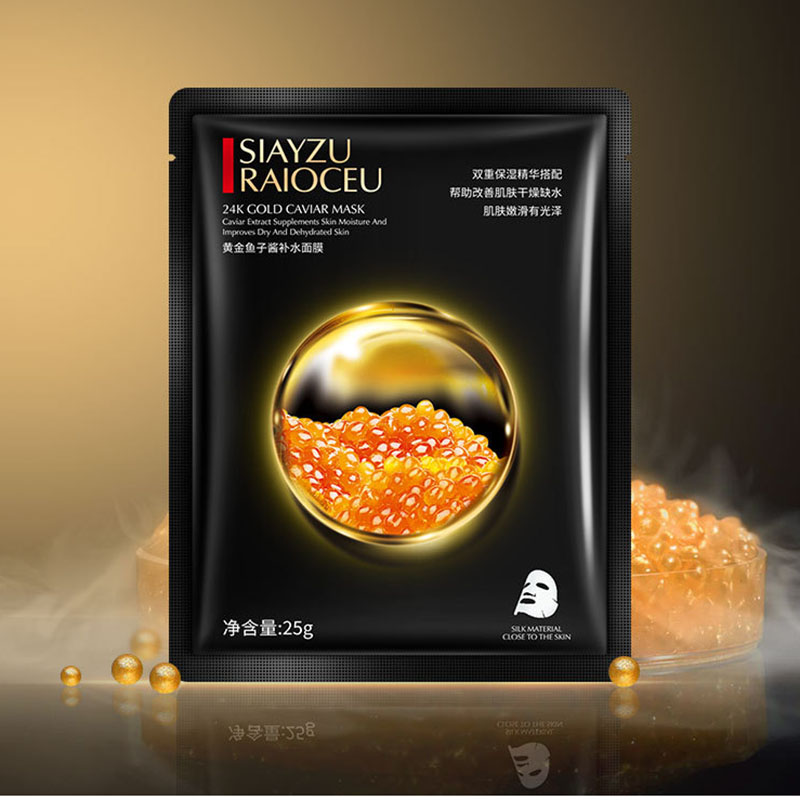 1 Pcs Gold Caviar Hydrating Facial Mask Deep Moisturizing Easy To Absorb And Improve Skin Facial Care