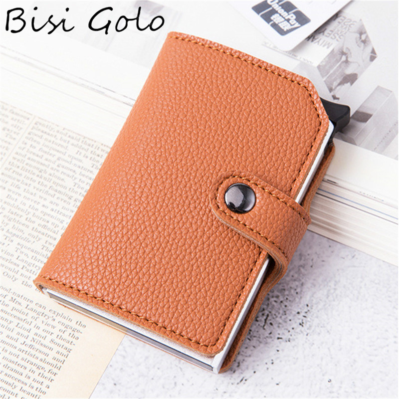 BISI GORO Protection PU Leather Wallet RFID Blocking ID Credit Card Holder Metal Aluminum Business Bank Card Case Card Wallet