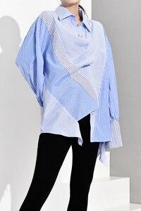 Image 4 - [Eam] feminino azul listrado assimétrico oversized blusa nova lapela manga longa solto ajuste camisa moda primavera outono 2020 jz6870