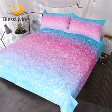 BlessLiving parure de lit pailletée colorée, couvre lit tendance, 3 pièces, bleu, rose, Pastel, housse de couette brillante