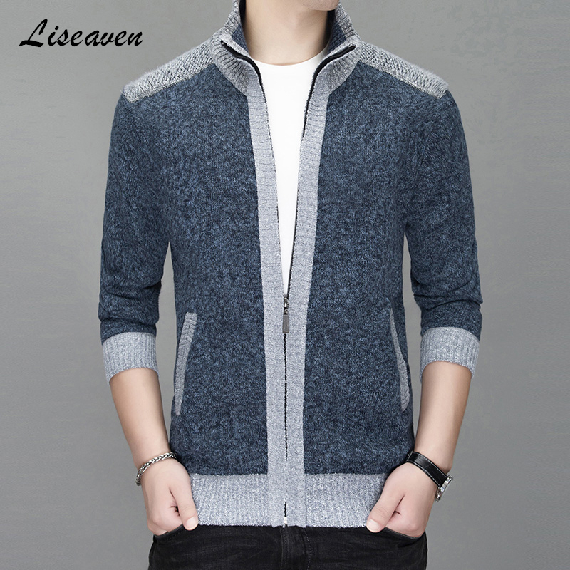 Liseaven Men Sweaters Cardigans Casual Jackets Stand Collar Warm Sweatercoat Men's Clothing Autumn Winter Coat