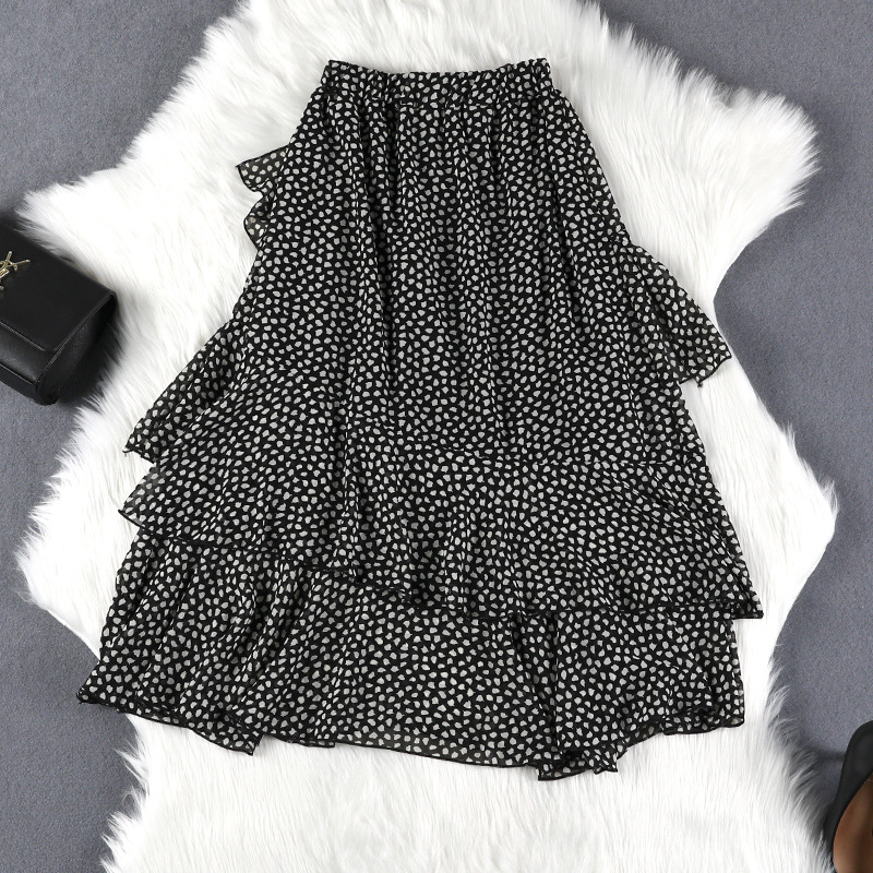 Lan Mu Square 200 Of Fat Mm Slimming By Age Skirt Summer Wear New Style Large Size Dress Mid-length Polka Dot 5308