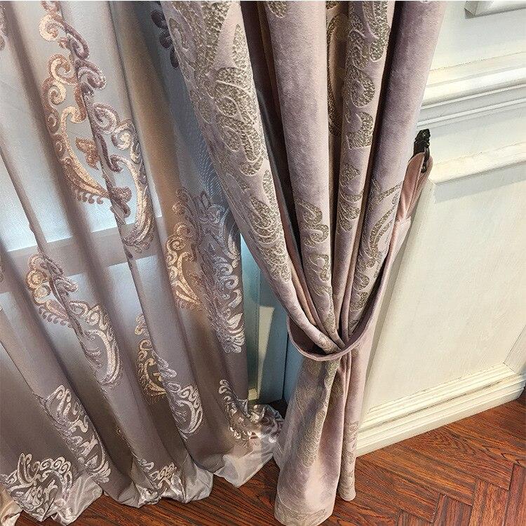 High-end Velvet Gilded Curtains For Living Dining Room Bedroom  Blackout Curtains