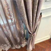 High-end Velvet Gilded Curtains for Living Dining Room Bedroom Blackout Curtains