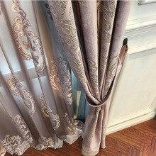 High end Velvet Gilded Curtains for Living Dining Room Bedroom Blackout Curtains